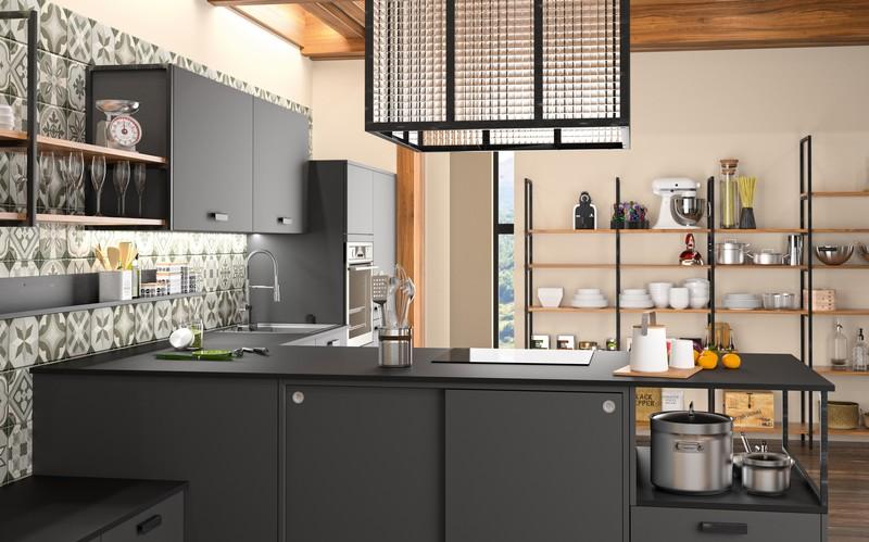 cuisine zenit esprit industriel rangeocean. Black Bedroom Furniture Sets. Home Design Ideas
