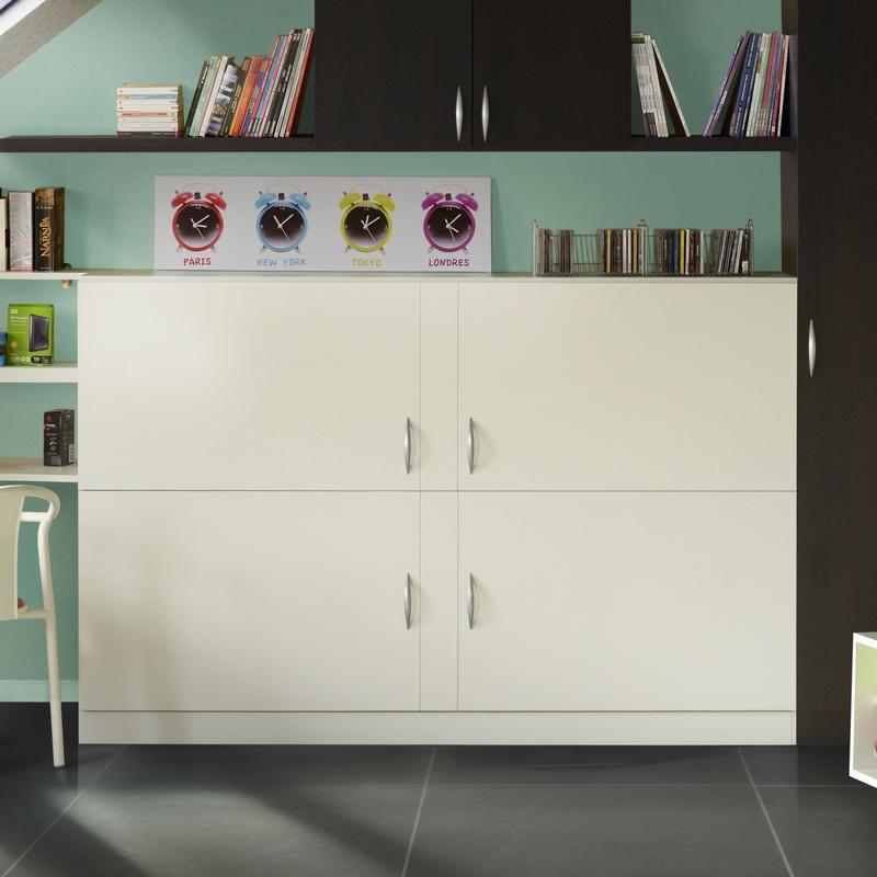 Lit rabattable transversal modèle Melamix coloris blanc