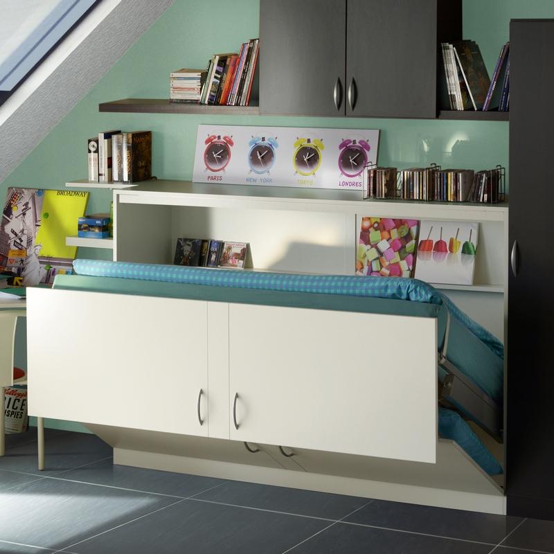 Lit escamotable horizontal coloris blanc modèle Melamix