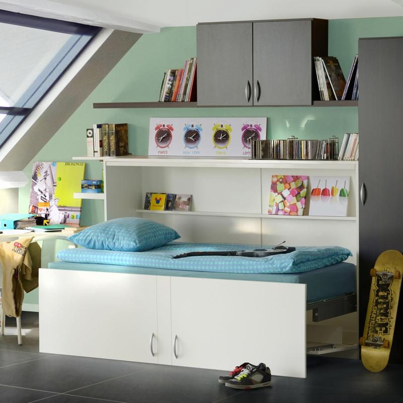 Armoire lit horizontal modèle Melamix coloris blanc