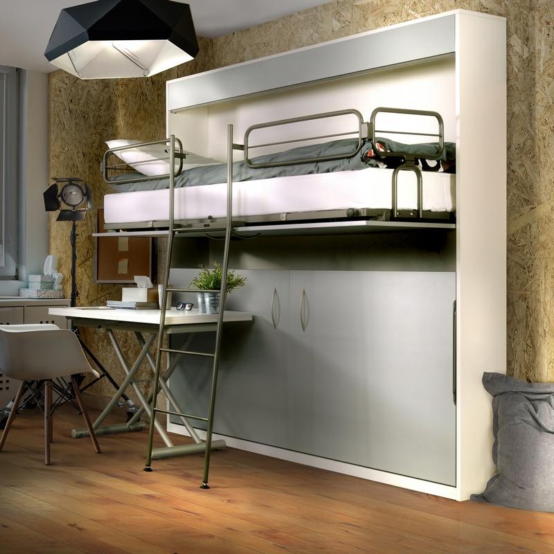 Lit superposé modèle Melamix coloris gris