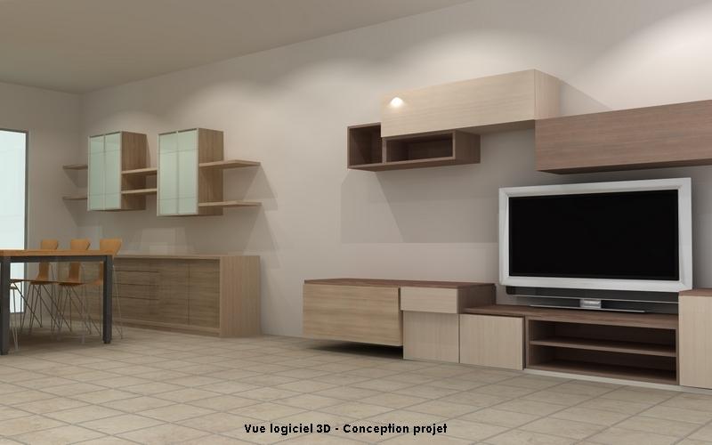 Vue 3D d'un projet de meuble séjour et d'un meuble TV