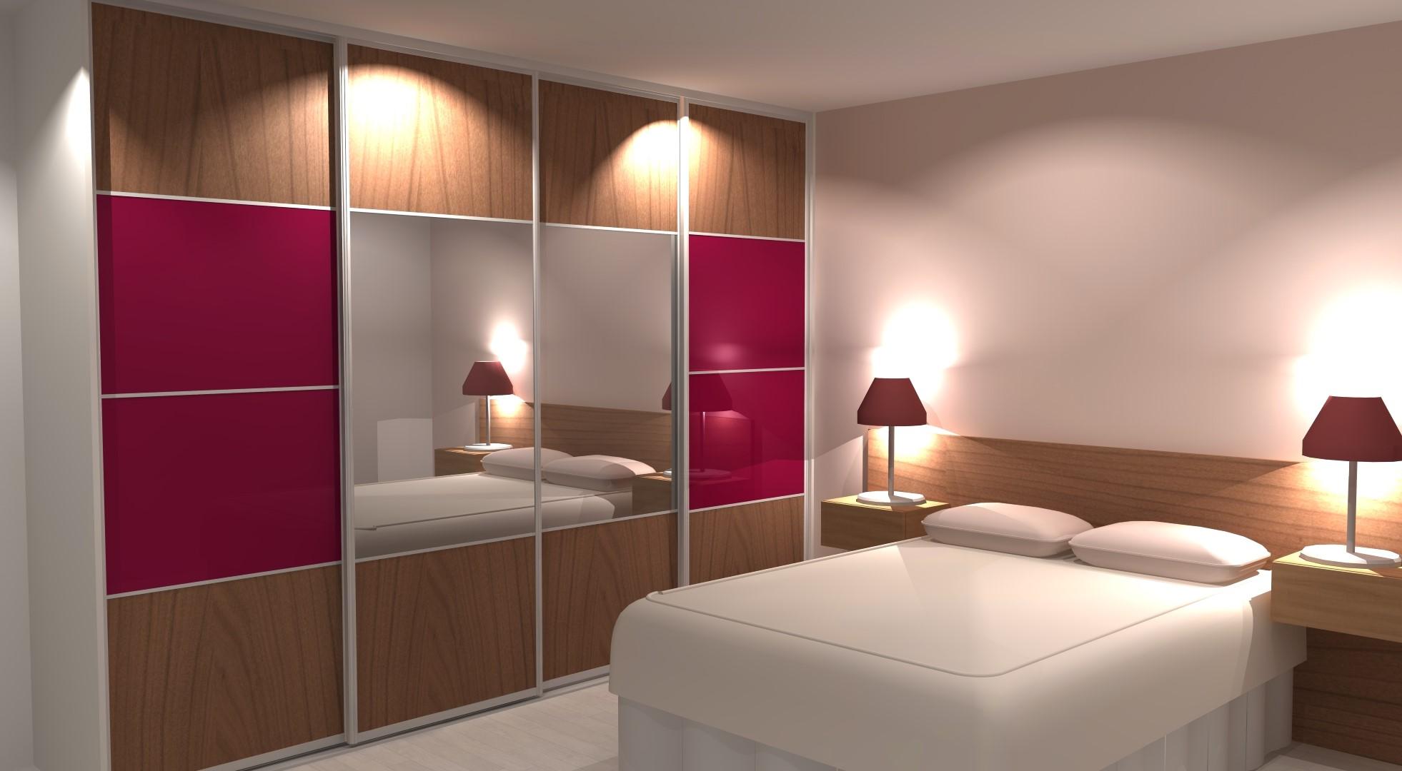 Portes coulissantes sur-mesure avec verre laqué rose pour une chambre