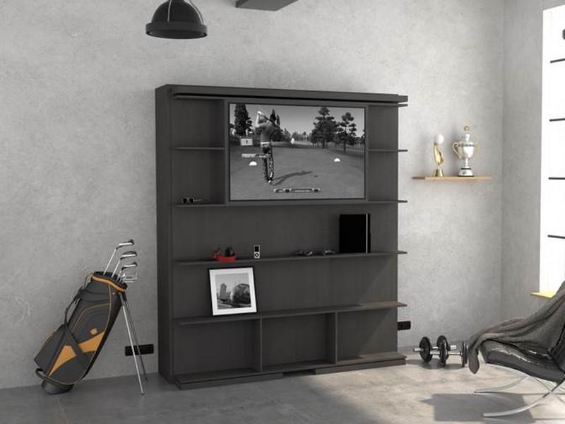 Lit escamotable pivotant bibliothèque option TV