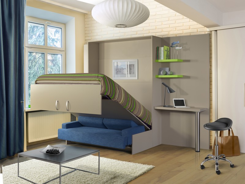 Lit rabattable avec sofa simple bleu